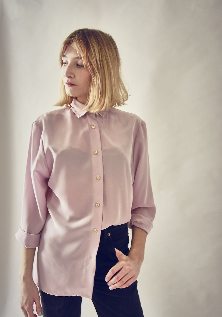 90's Lilac Silky Button Up Blouse