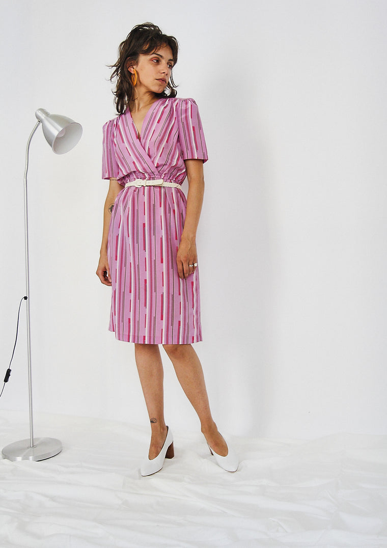 80s Pink Geometric Printed Dress