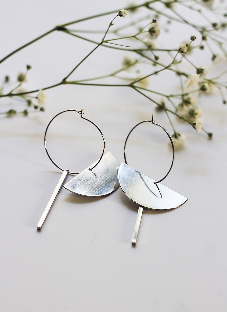Silver Disc and Bar Earrings