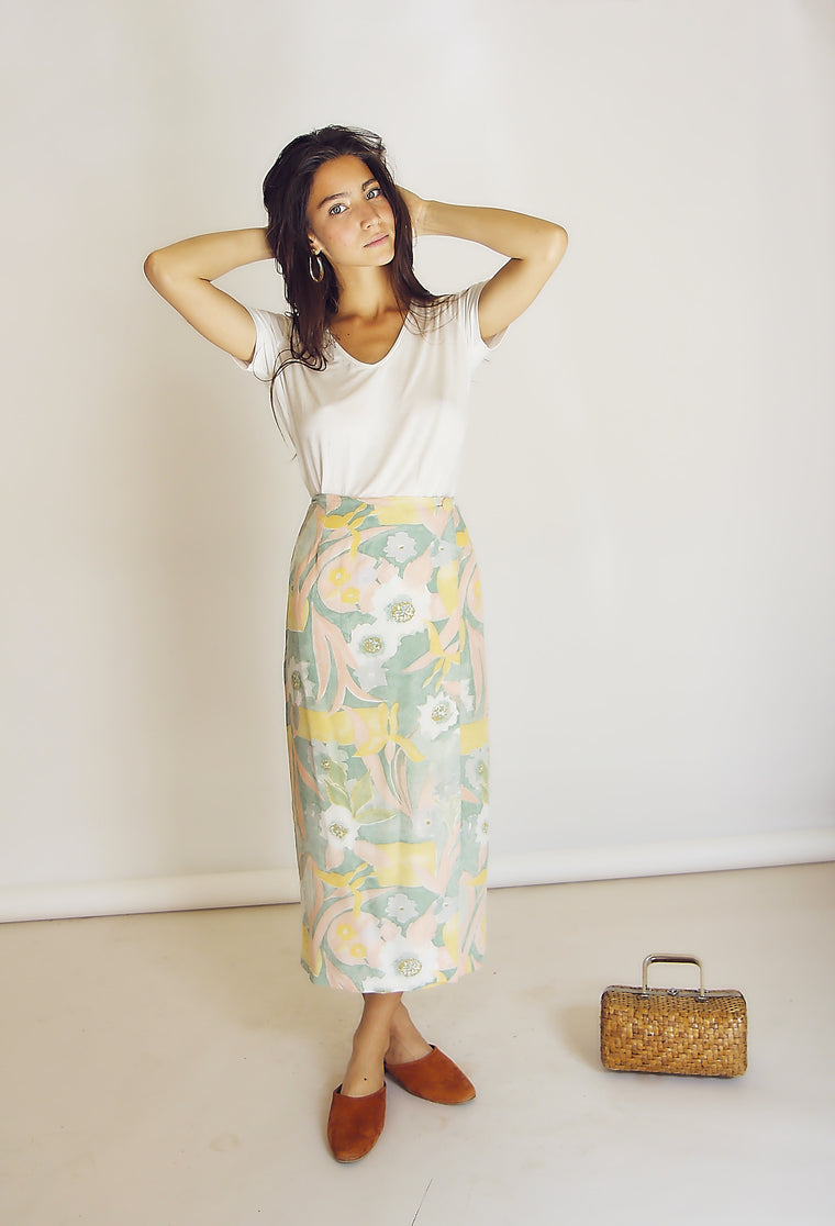 90s Pretty Pastel Wrap Skirt