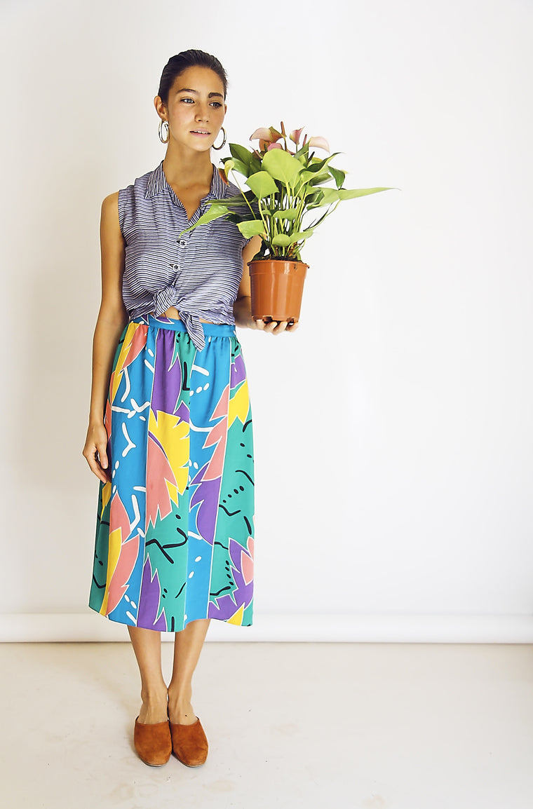 Pretty Arty Abstract Printed Skirt