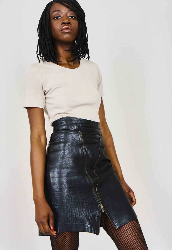 Vintage 90s Black Leather Mini Skirt