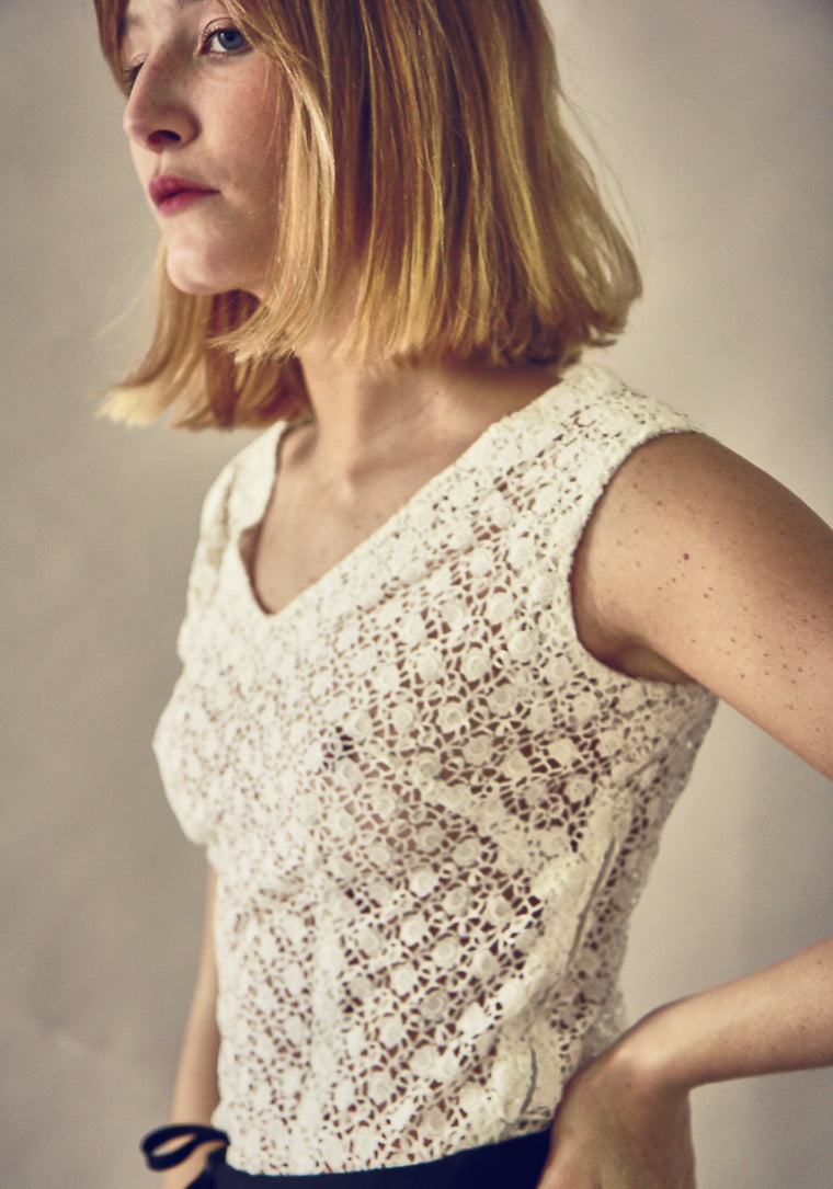 40s White Lace Blouse