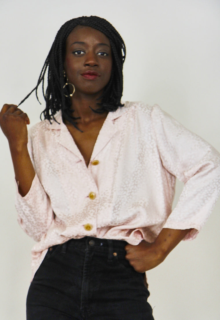 90's Blush Silk Button Up Blouse