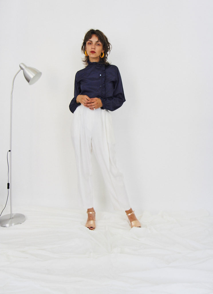 Vintage 90s Cream Tapered Trousers