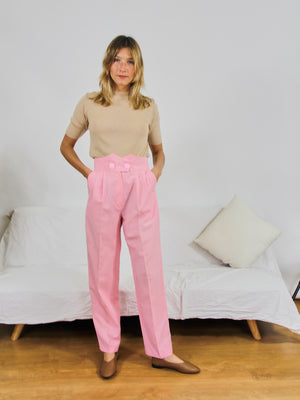 Candy Pink High-Waisted Trousers