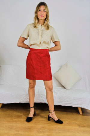 Red Suede Mini Skirt