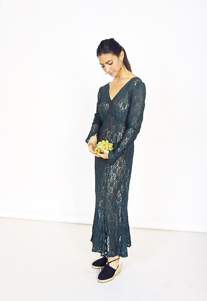 Vintage Forest Green Lace Dress
