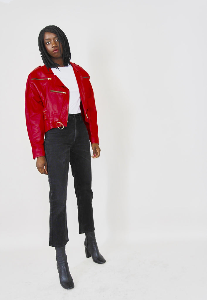80s Quality Red Leather Biker Jacket