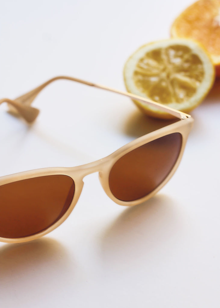 Nude Transparent Frame Sunglasses