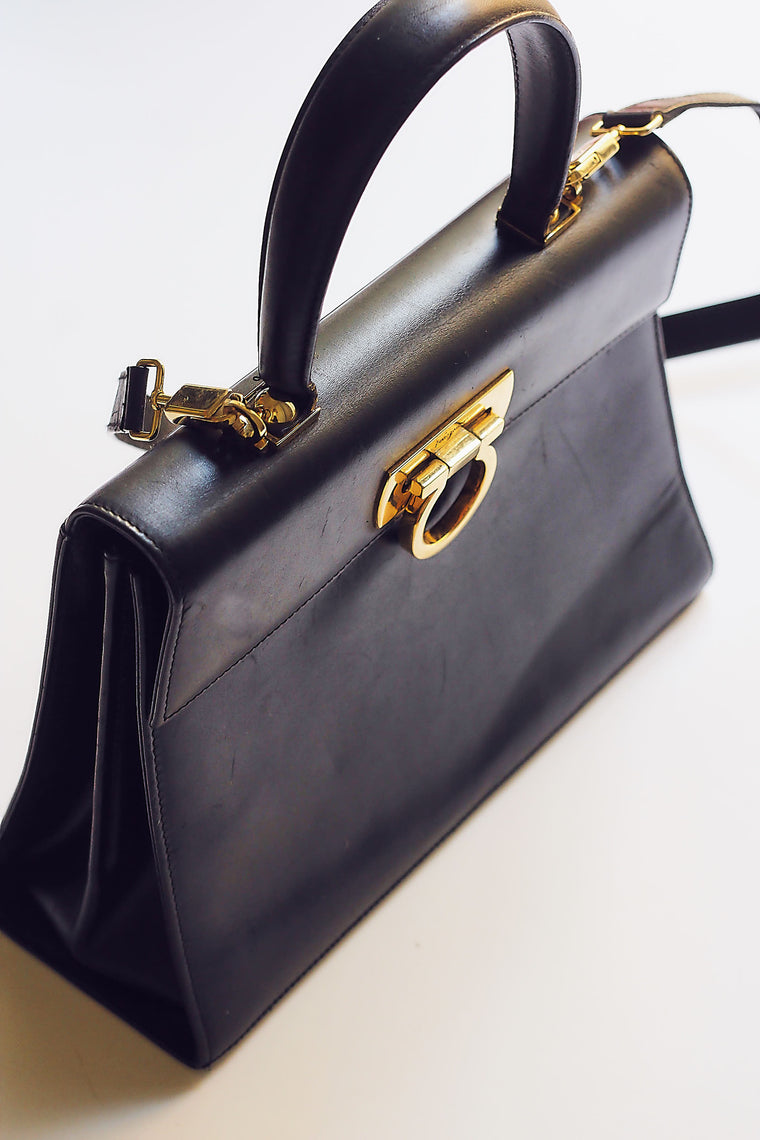 80s Navy Leather Ferragamo Box Handbag