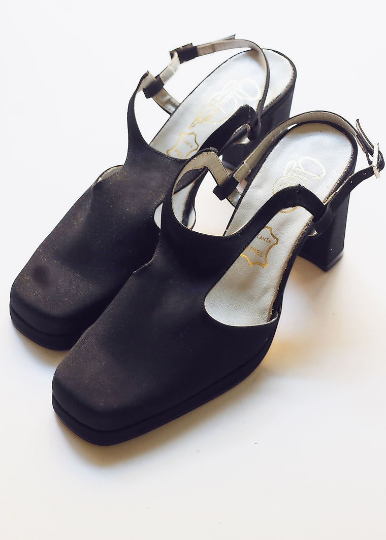 90s Black Square Toe Sling backs