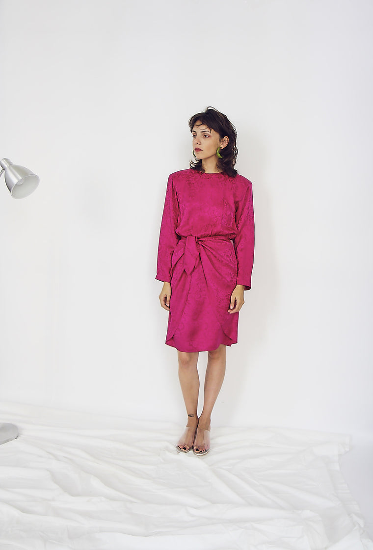 Fuschia Silk Wrap Detail Dress