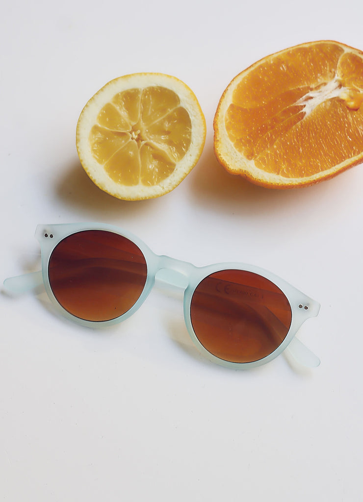 Frosty Blue Framed Keyhole Sunglasses
