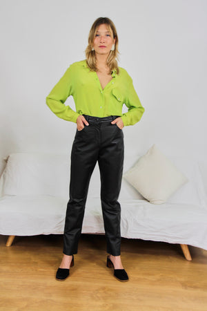 Black Slim Fit Leather Trousers