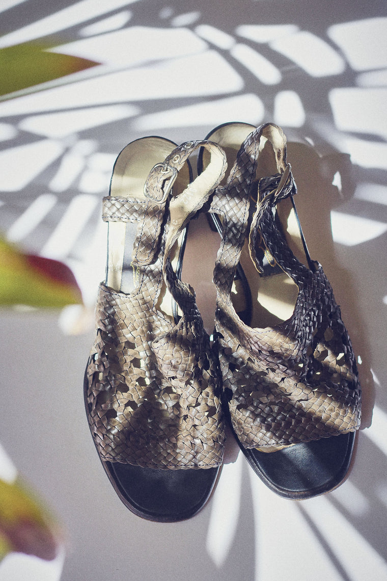 90s Olive Leather Woven Sandals