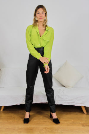 Lime Silk Button Up Blouse