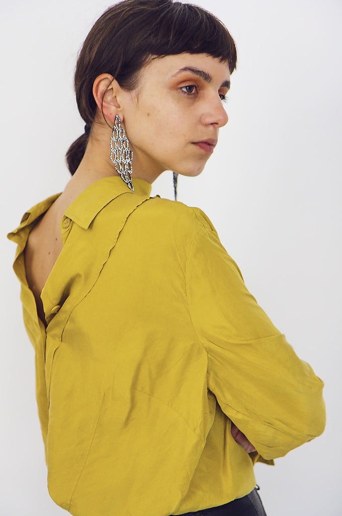 90's Chartreuse Silk Button Up Blouse