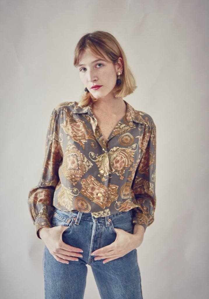 90's Printed Silk Button Up Blouse