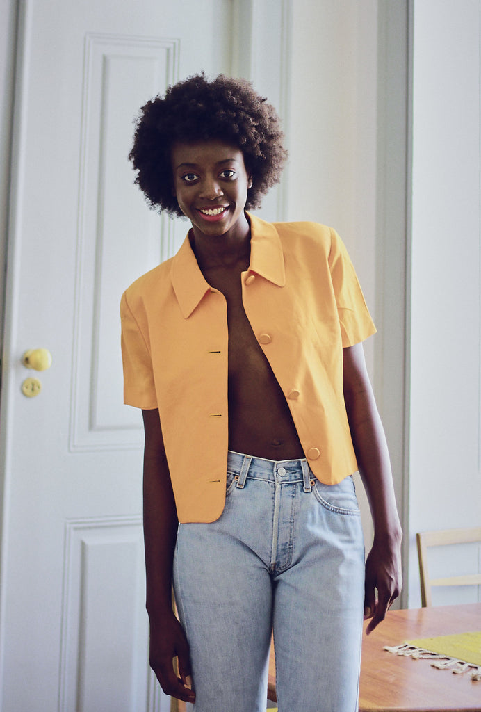 90s Vintage Cropped Shirt Jacket