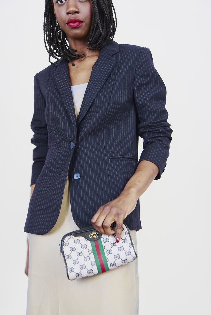 90s Vintage Navy Wool Pin Striped Blazer