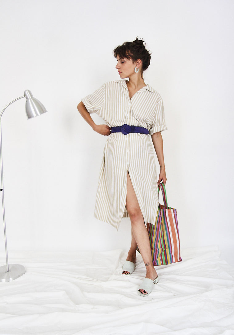 80s Cotton Striped Shirt Dress