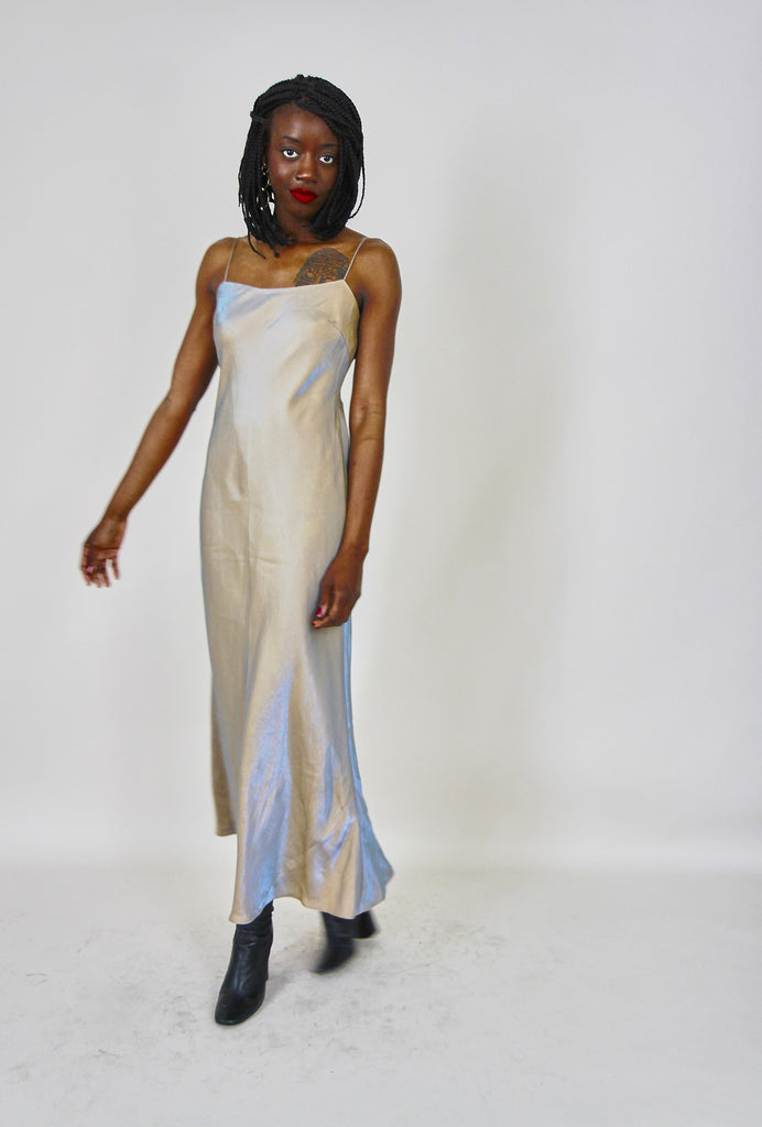 90's Vintage Irredicent Shimmer Slip Dress
