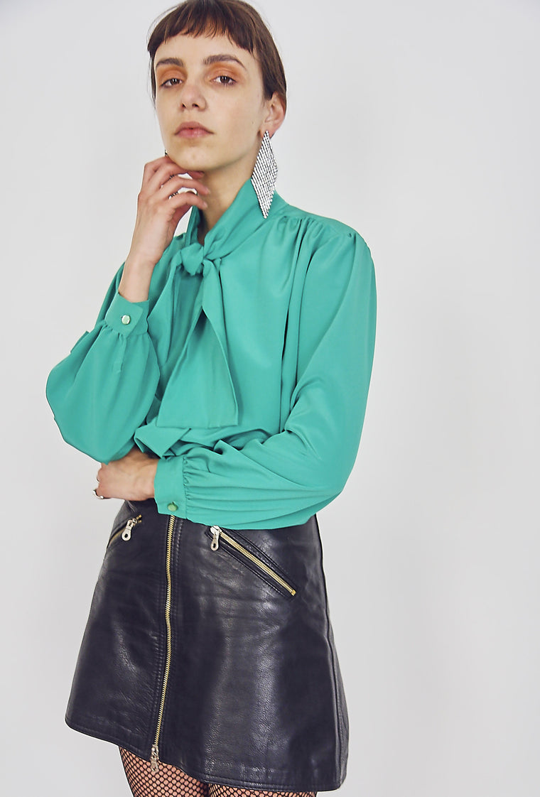Vintage Green Pussy Bow Blouse