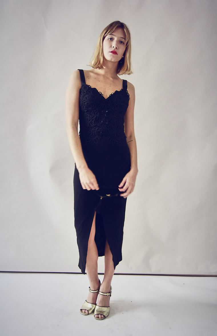 90's Black Fitted Ocassion Dress.