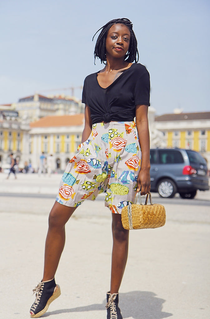 Vintage Printed Loose Fit Shorts
