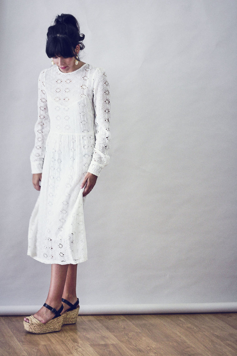 70's Style Embroidery Anglaise Summer Dress.