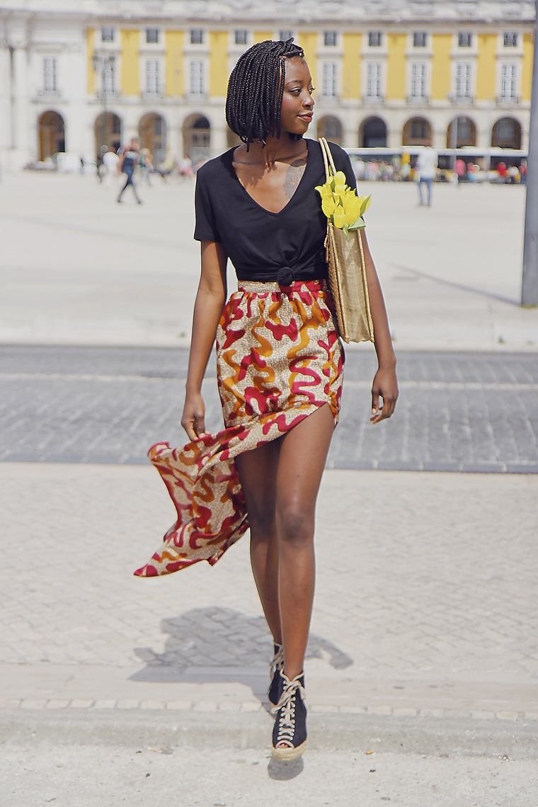 90s Printed Slitted Skirt