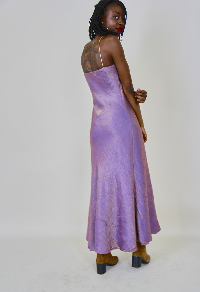 90's Vintage Iridescent Creased Slip Dress