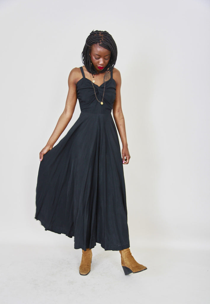 1940's Vintage Black Full Length Dress