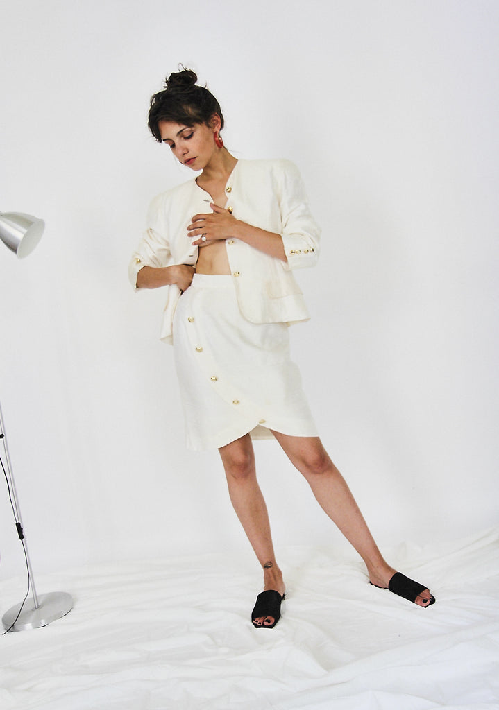 Silk Cream 80s Power Suit