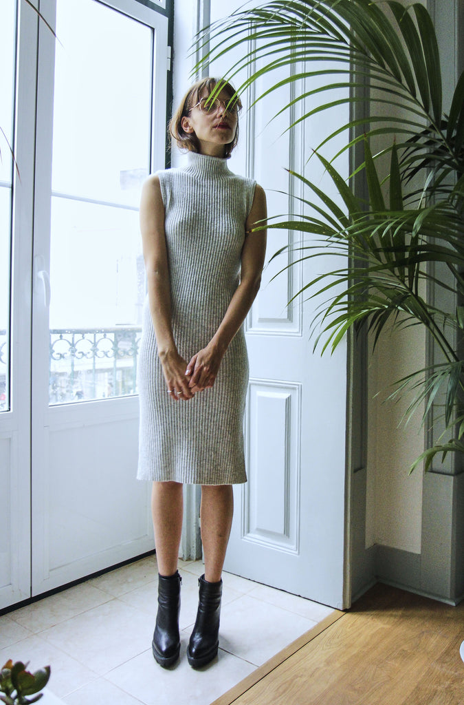 90s Grey Knit Midi Dress