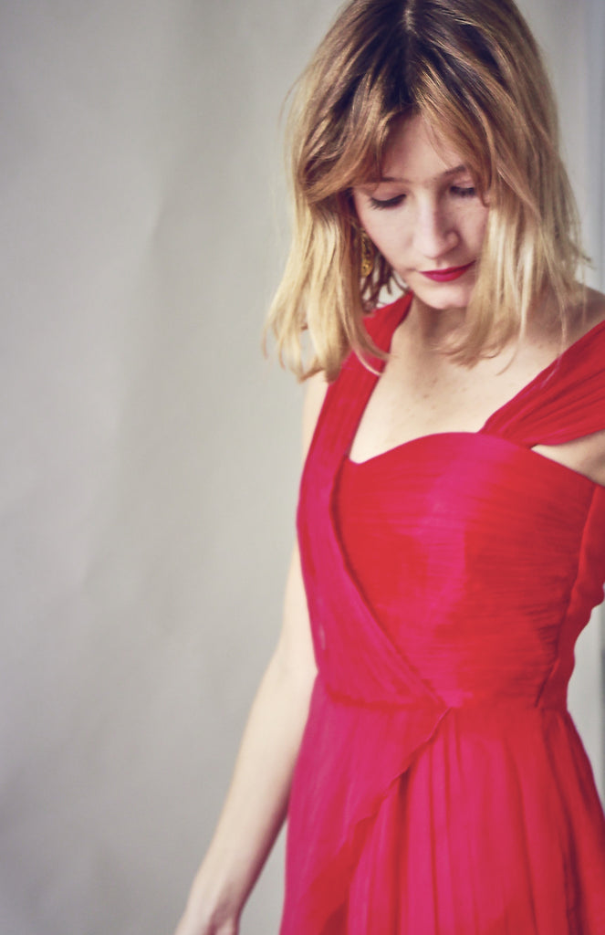 90s Red Chiffon Pleated Dress