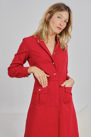 Red Wool Fitted Shirt Dress
