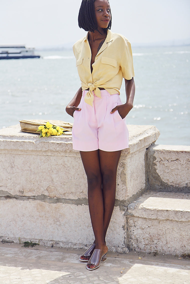 Vintage 90s  Pink High-Waisted Shorts