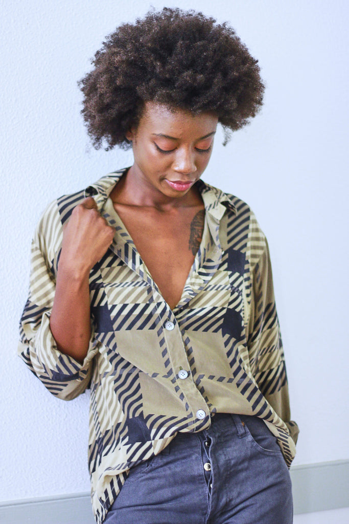 90's Hounds Tooth Silk Button Up Blouse