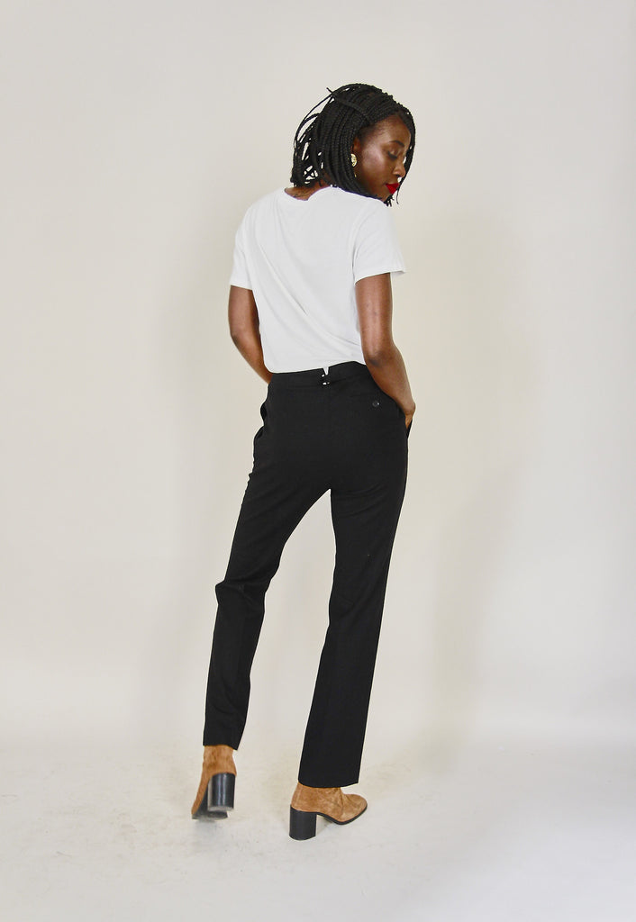 Vintage 90s Low Rise Black Tapered Trousers