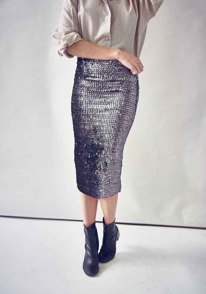 Vintage 90s Gunmetal Sequin Skirt