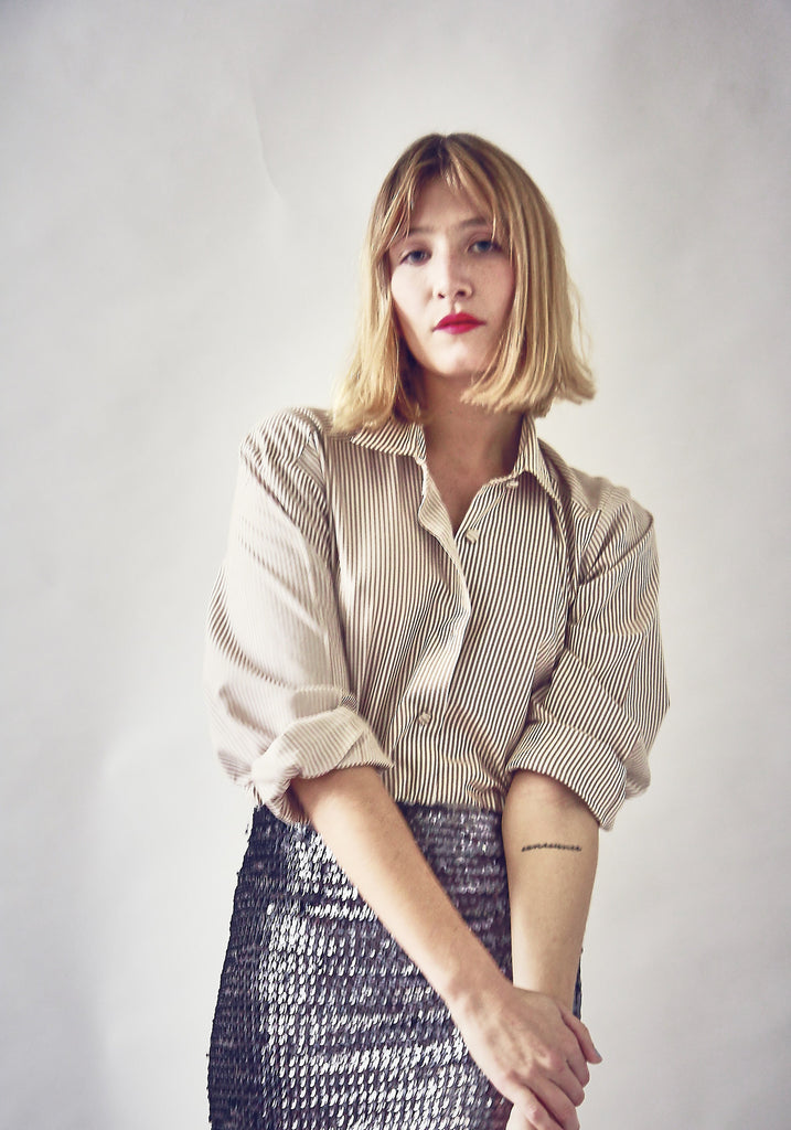 90s Vintage Taupe Striped Shirt