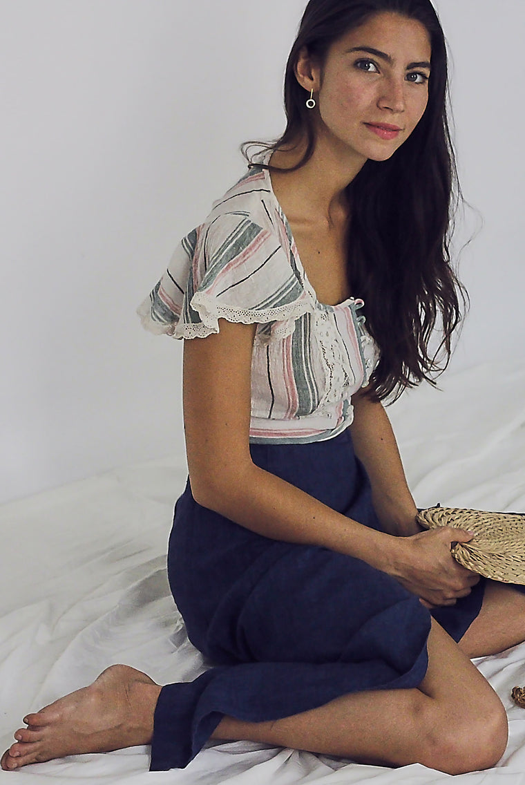 70s Linen and lace cropped pastel top