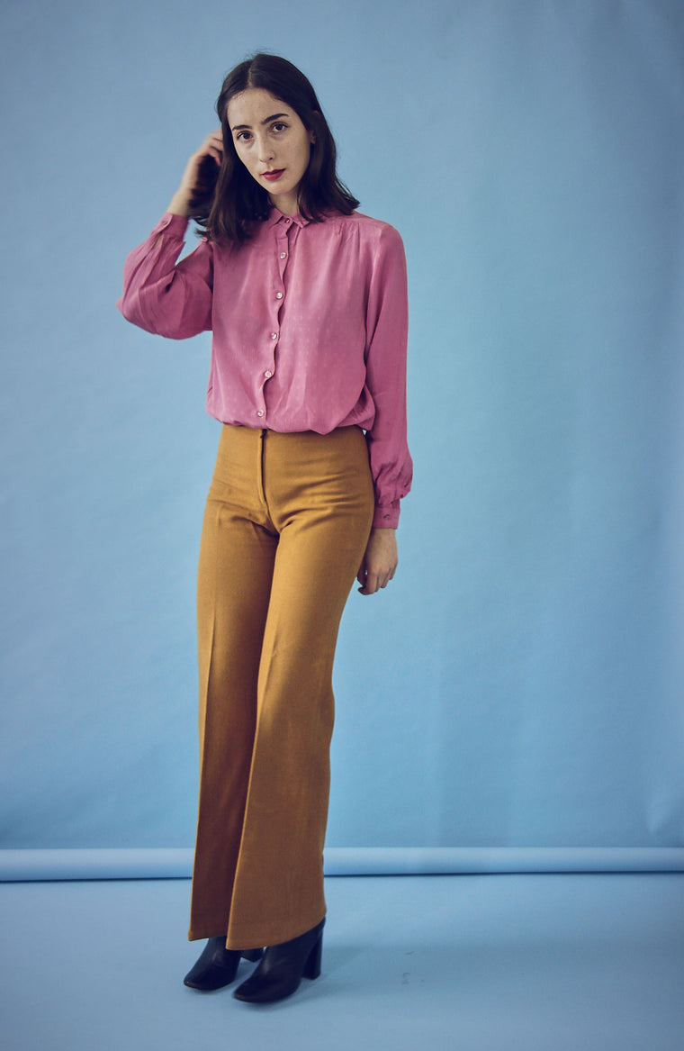 Vintage 70s Caramel Wool Trousers