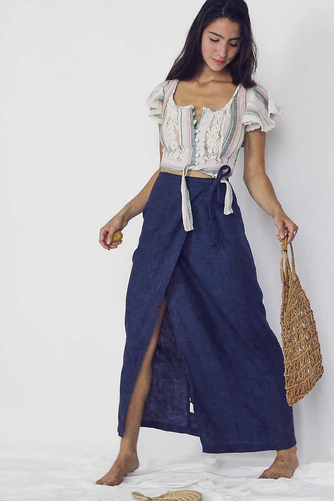 Navy Linen Wrap Skirt