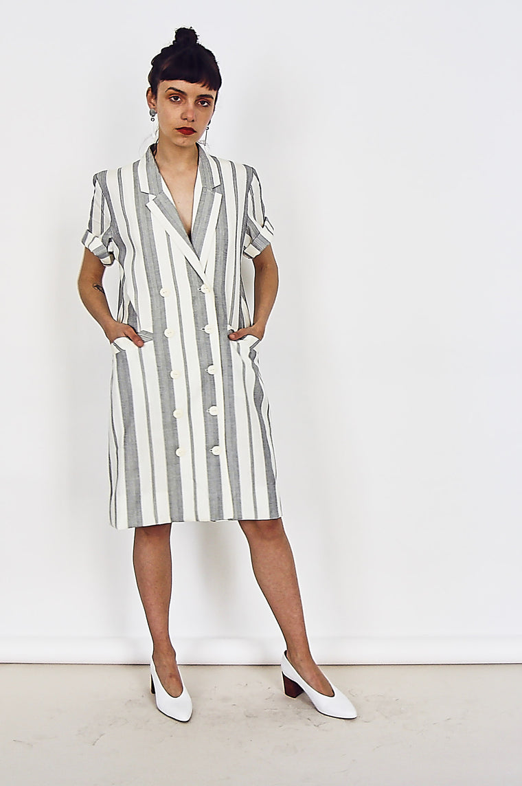 80s Pin Striped Shirt Dress