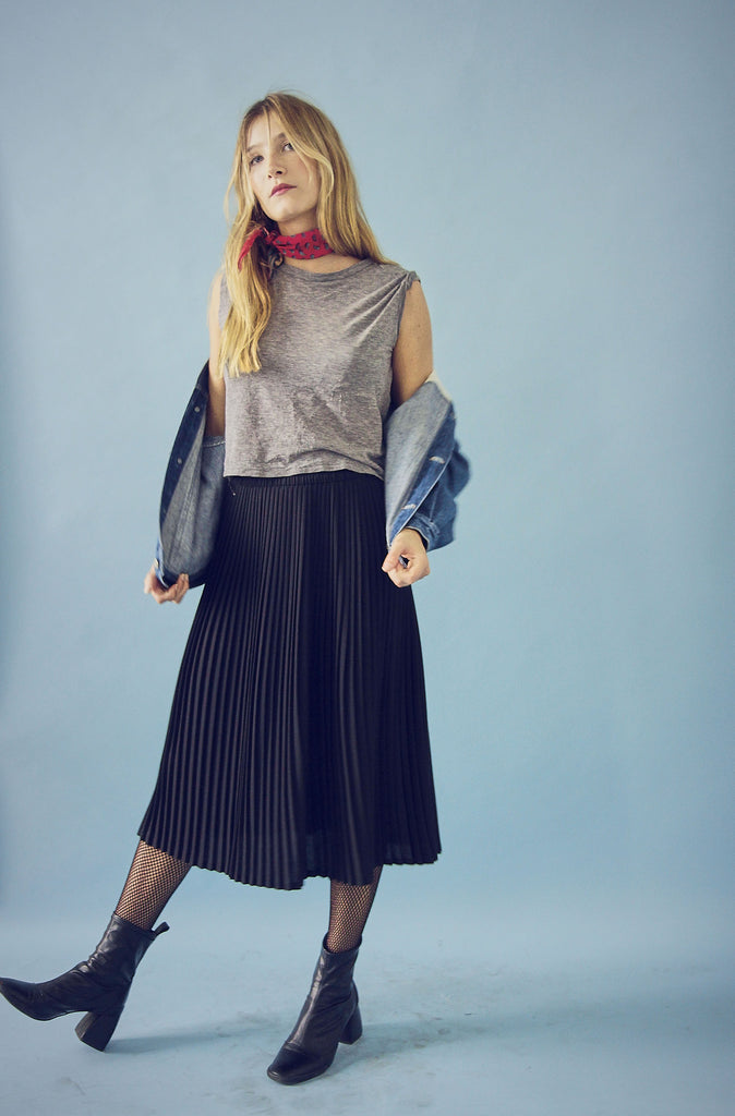 Vintage 70s High Waisted Pleated Wool Skirt
