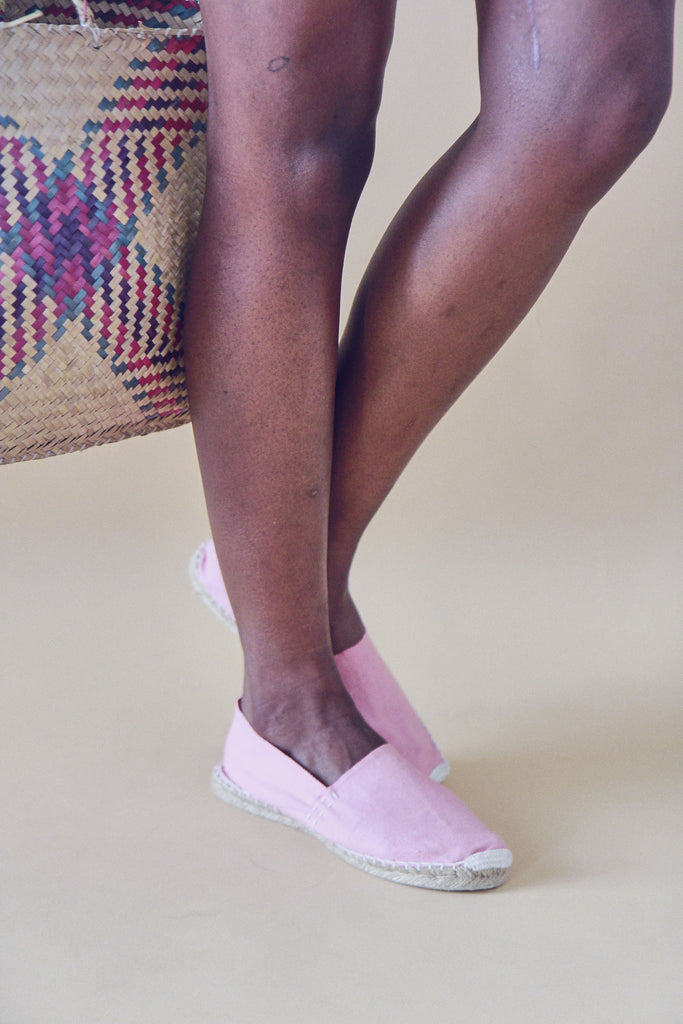 Cotton and Raffia Flat Espadrille Pumps