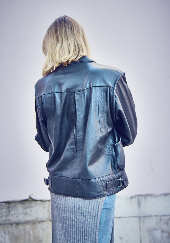 80s Vintage Boxy Black Leather Jacket